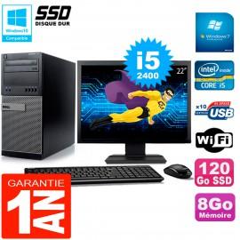 """PC Tour DELL 7010 Ecran 22"""" Core I5-2400 RAM 8Go Disque 120 Go SSD Wifi W7"""