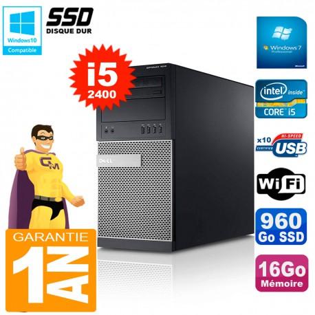 PC Tour DELL 7010 Core I5-2400 RAM 16Go Disque 960 Go SSD Wifi W7