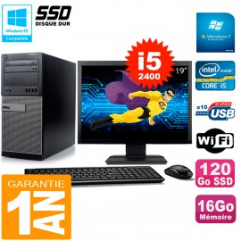 """PC Tour DELL 7010 Ecran 19"""" Core I5-2400 RAM 16Go Disque 120 Go SSD Wifi W7"""