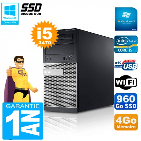 PC Tour DELL 7010 Core I5-3470 RAM 4Go Disque 960 Go SSD Wifi W7