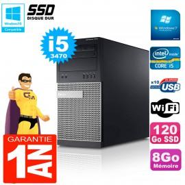 PC Tour DELL 7010 Core I5-3470 RAM 8Go Disque 120 Go SSD Wifi W7