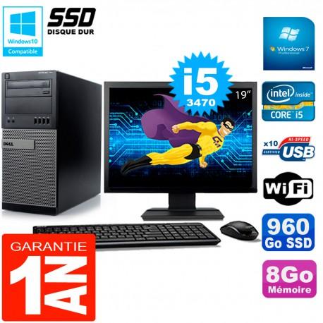 """PC Tour DELL 7010 Ecran 19"""" Core I5-3470 RAM 8Go Disque 960 Go SSD Wifi W7"""