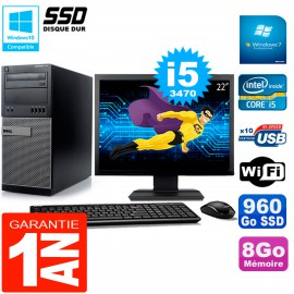 """PC Tour DELL 7010 Ecran 22"""" Core I5-3470 RAM 8Go Disque 960 Go SSD Wifi W7"""