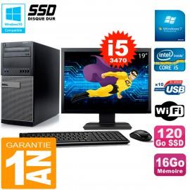 """PC Tour DELL 7010 Ecran 19"""" Core I5-3470 RAM 16Go Disque 120 Go SSD Wifi W7"""