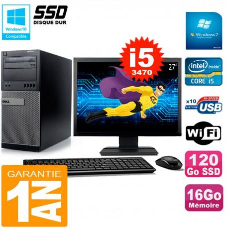"""PC Tour DELL 7010 Ecran 27"""" Core I5-3470 RAM 16Go Disque 120 Go SSD Wifi W7"""