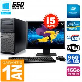 """PC Tour DELL 7010 Ecran 27"""" Core I5-3470 RAM 16Go Disque 960 Go SSD Wifi W7"""