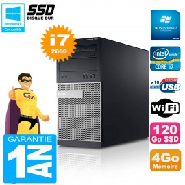 PC Tour DELL 7010 Core I7-2600 RAM 4Go Disque 120 Go SSD Wifi W7