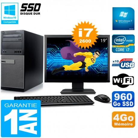 """PC Tour DELL 7010 Ecran 19"""" Core I7-2600 RAM 4Go Disque 960 Go SSD Wifi W7"""