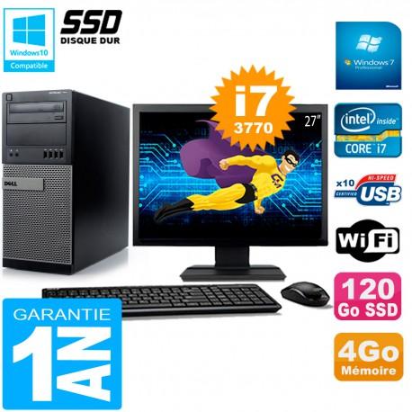 """PC Tour DELL 7010 Ecran 27"""" Core I7-3770 RAM 4Go Disque 120 Go SSD Wifi W7"""