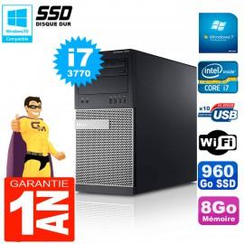 PC Tour DELL 7010 Core I7-3770 RAM 8Go Disque 960 Go SSD Wifi W7