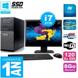 """PC Tour DELL 7010 Ecran 22"""" Core I7-3770 RAM 8Go Disque 120 Go SSD Wifi W7"""