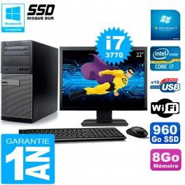 """PC Tour DELL 7010 Ecran 22"""" Core I7-3770 RAM 8Go Disque 960 Go SSD Wifi W7"""