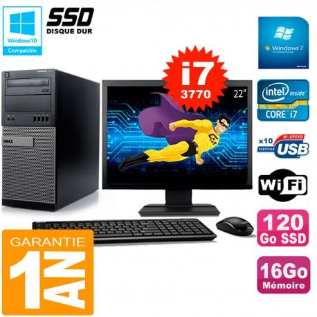 """PC Tour DELL 7010 Ecran 22"""" Core I7-3770 RAM 16Go Disque 120 Go SSD Wifi W7"""