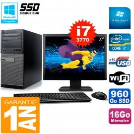 """PC Tour DELL 7010 Ecran 27"""" Core I7-3770 RAM 16Go Disque 960 Go SSD Wifi W7"""