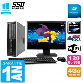 "PC HP Compaq 6005 Pro SFF Ecran 22"" AMD Phenom II RAM 4Go 120 Go SSD Wifi W7"