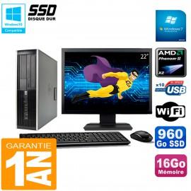 "PC HP Compaq 6005 Pro SFF Ecran 22"" AMD Phenom II RAM 16Go 960 Go SSD Wifi W7"