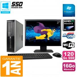"PC HP Compaq 6005 Pro SFF Ecran 27"" AMD Phenom II RAM 16Go 120 Go SSD Wifi W7"