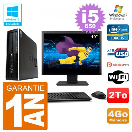 "PC HP Compaq 8100 SFF Ecran 19"" i5-650 RAM 4Go Disque 2To Graveur DVD Wifi W7"