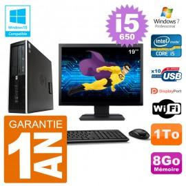"PC HP Compaq 8100 SFF Ecran 19"" i5-650 RAM 8Go Disque 1To Graveur DVD Wifi W7"