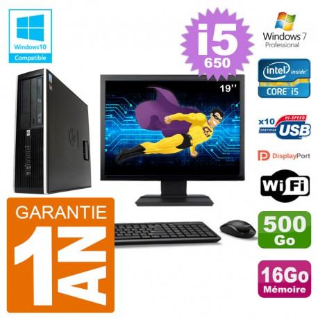 "PC HP Compaq 8100 SFF Ecran 19"" i5-650 RAM 16Go Disque 500Go Graveur DVD Wifi W7"