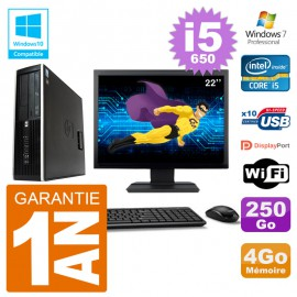 "PC HP Compaq 8100 SFF Ecran 22"" i5-650 RAM 4Go Disque 250Go Graveur DVD Wifi W7"