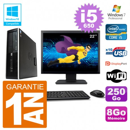 "PC HP Compaq 8100 SFF Ecran 22"" i5-650 RAM 8Go Disque 250Go Graveur DVD Wifi W7"