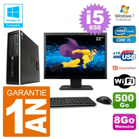 "PC HP Compaq 8100 SFF Ecran 22"" i5-650 RAM 8Go Disque 500Go Graveur DVD Wifi W7"