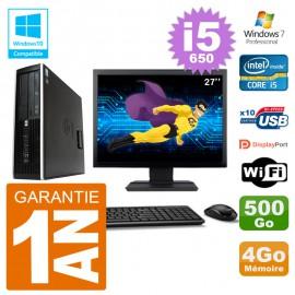 "PC HP Compaq 8100 SFF Ecran 27"" i5-650 RAM 4Go Disque 500Go Graveur DVD Wifi W7"