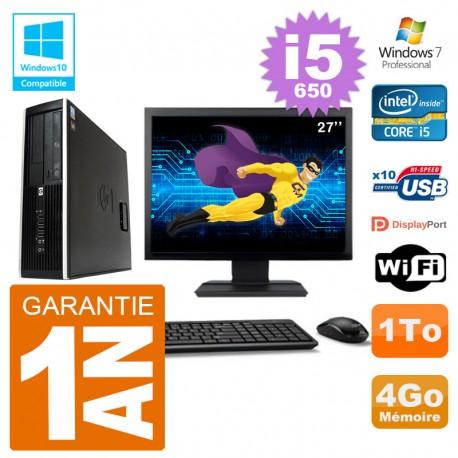 "PC HP Compaq 8100 SFF Ecran 27"" i5-650 RAM 4Go Disque 1To Graveur DVD Wifi W7"