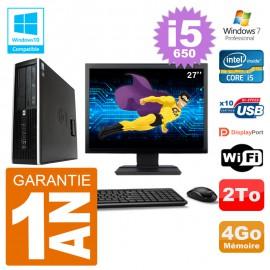 "PC HP Compaq 8100 SFF Ecran 27"" i5-650 RAM 4Go Disque 2To Graveur DVD Wifi W7"