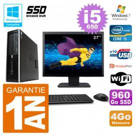 "PC HP Compaq 8100 SFF Ecran 27"" i5-650 RAM 4Go SSD 960Go Graveur DVD Wifi W7"