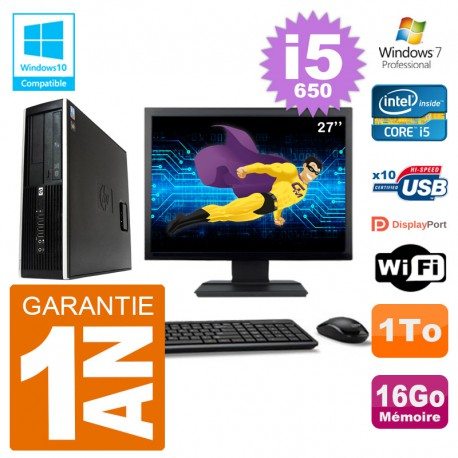 "PC HP Compaq 8100 SFF Ecran 27"" i5-650 RAM 16Go Disque 1To Graveur DVD Wifi W7"