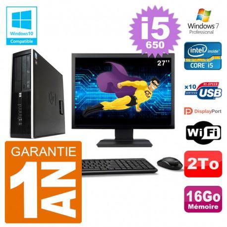 "PC HP Compaq 8100 SFF Ecran 27"" i5-650 RAM 16Go Disque 2To Graveur DVD Wifi W7"