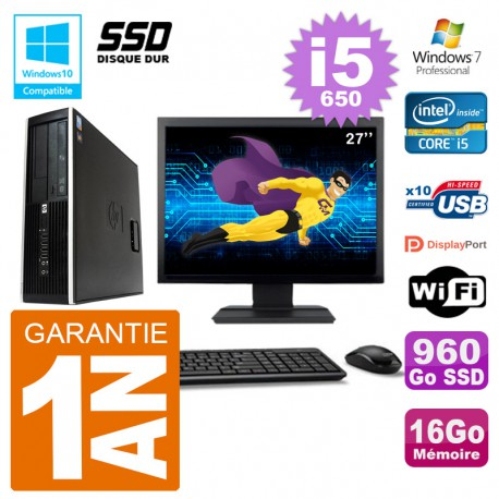 "PC HP Compaq 8100 SFF Ecran 27"" i5-650 RAM 16Go SSD 960Go Graveur DVD Wifi W7"