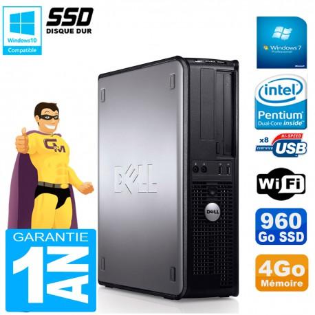 PC DELL Optiplex 780 DT Intel E5300 RAM 4Go 960 Go SSD Graveur DVD Wifi W7