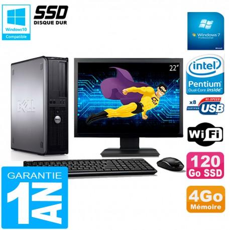 """PC DELL Optiplex 780 DT Ecran 22"""" Intel E5300 RAM 4Go 120 Go SSD Wifi W7"""
