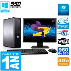 """PC DELL Optiplex 780 DT Ecran 22"""" Intel E5300 RAM 4Go 960 Go SSD Wifi W7"""