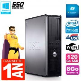 PC DELL Optiplex 780 DT Intel E5300 RAM 8Go 120 Go SSD Graveur DVD Wifi W7