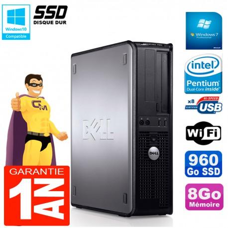 PC DELL Optiplex 780 DT Intel E5300 RAM 8Go 960 Go SSD Graveur DVD Wifi W7