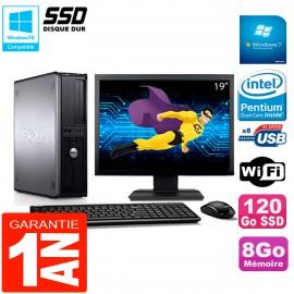 """PC DELL Optiplex 780 DT Ecran 19"""" Intel E5300 RAM 8Go 120 Go SSD Wifi W7"""