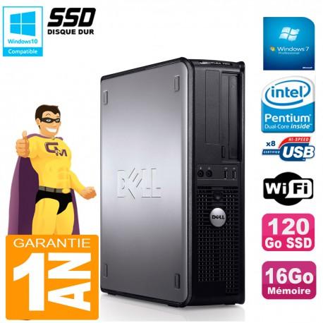PC DELL Optiplex 780 DT Intel E5300 RAM 16Go 120 Go SSD Graveur DVD Wifi W7