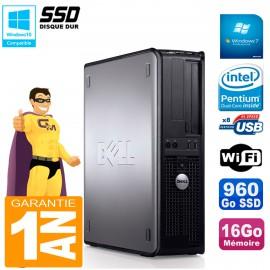 PC DELL Optiplex 780 DT Intel E5300 RAM 16Go 960 Go SSD Graveur DVD Wifi W7