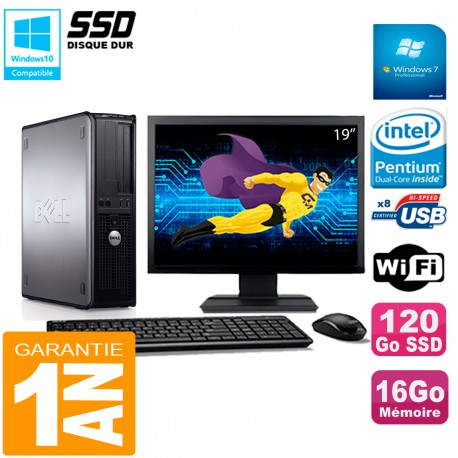 """PC DELL Optiplex 780 DT Ecran 19"""" Intel E5300 RAM 16Go 120 Go SSD Wifi W7"""