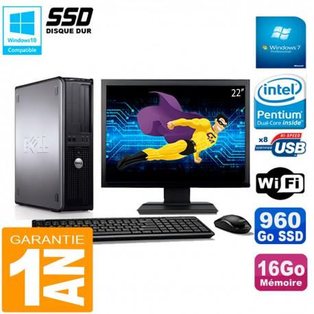"""PC DELL Optiplex 780 DT Ecran 22"""" Intel E5300 RAM 16Go 960 Go SSD Wifi W7"""