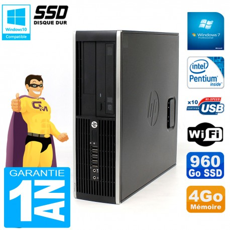 PC HP Compaq Pro 6200 SFF Intel G840 RAM 4Go 960 Go SSD Graveur DVD Wifi W7