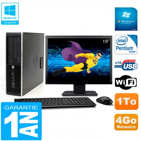 """PC HP Compaq Pro 6200 SFF Ecran 19"""" Intel G840 4Go 1To Graveur DVD Wifi W7"""