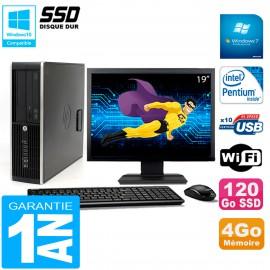 """PC HP Compaq Pro 6200 SFF Ecran 19"""" Intel G840 4Go 120 Go SSD Graveur DVD Wifi W7"""