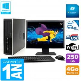 """PC HP Compaq Pro 6200 SFF Ecran 22"""" Intel G840 4Go 250Go Graveur DVD Wifi W7"""