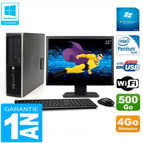 """PC HP Compaq Pro 6200 SFF Ecran 22"""" Intel G840 4Go 500Go Graveur DVD Wifi W7"""