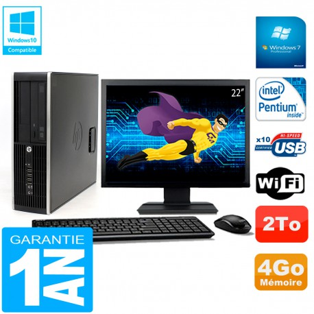 "PC HP Compaq Pro 6200 SFF Ecran 22"" Intel G840 4Go 2To Graveur DVD Wifi W7"